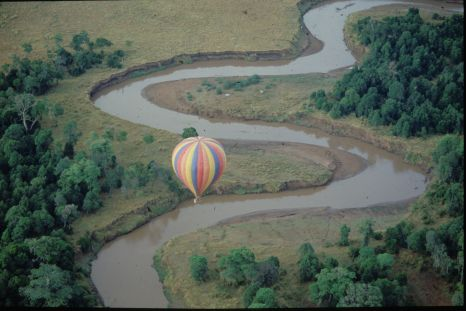 A hot air balloon flight will take you over a new path each time, allowing you to see new sites such as this waterway.