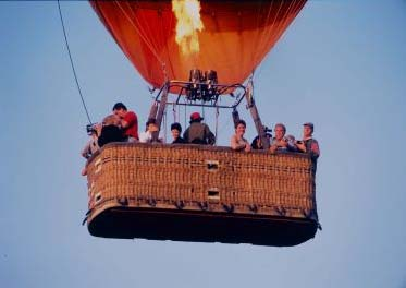 The hot air balloon burner in action during the flight.