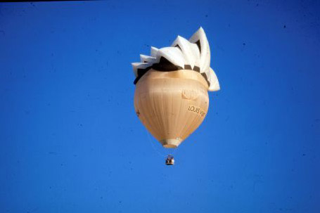 Special shape hot air balloons come in all shapes, sizes and colours such as this one of the Sydney Opera House