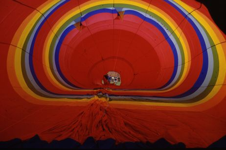A picture of the inside of a hot air balloon envelope.