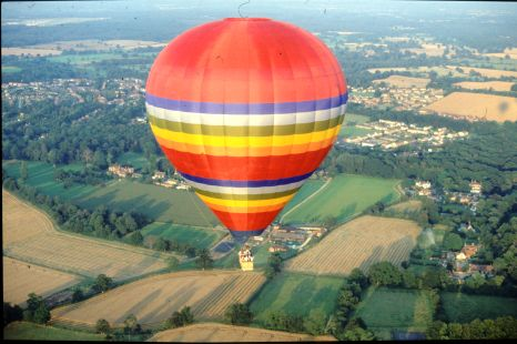 A hot air balloon flight will take you over a new path each time, allowing you to see new sites such as these fields.