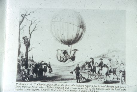 Drawing and account of the first solo balloon flight.