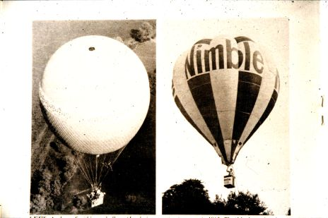 Photographs of some of the first hot air balloons to be used for corporate advertising.