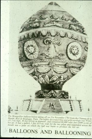 Picture of the first ever hot air balloon.
