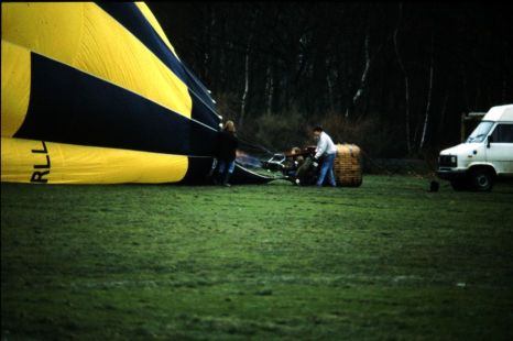 Inflating the hot air balloon envelope.