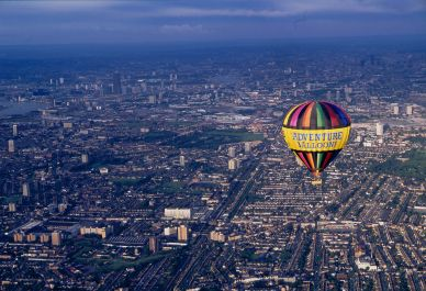 A hot air balloon ride over London, England.