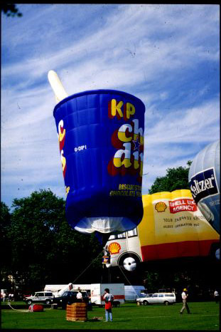 Companies looking for a outdoor advertising medium often used special shaped hot air balloons.