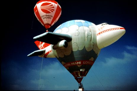 Special shaped hot air balloons, such as this one in the shape of a Virgin aeroplane, are often used as an outdoor advertising medium by companies that wish to exploit this unique form of promotion.